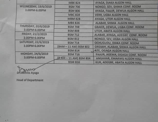 benue state university post graduate examination time table
